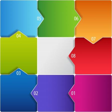 puzzle piece: Ilustraci�n vectorial conceptual de cubos de colores con las flechas y el lugar para el texto. Utilizable para el dise�o de los diferentes negocios