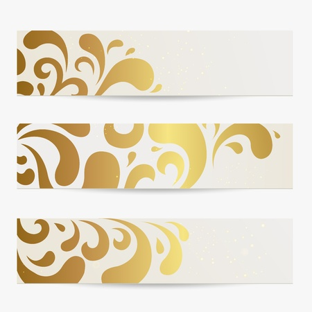 Vector set: Banners. Abstract compositions with golden pattern Vector