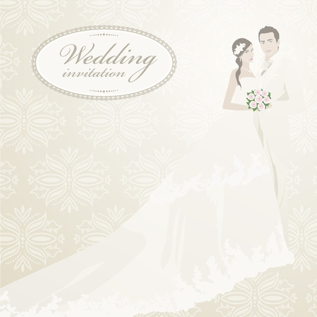 Wedding invitation with bride and groom. Vector illustration