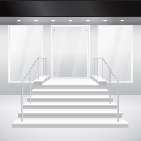 Entry to shop with stairs. Vector illustration of entrance to building. Exterior of store in gray color Vector