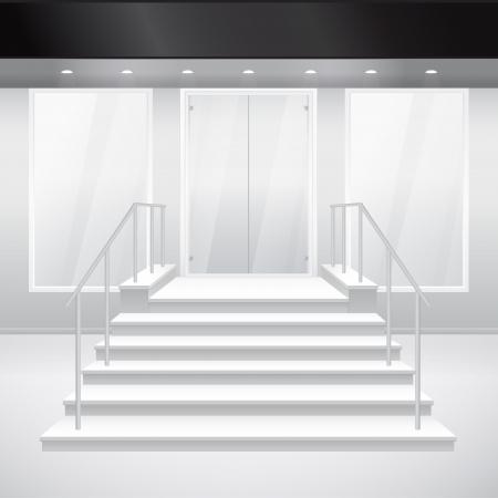 Toegang tot winkelen met trappen. Vector illustratie van ingang van gebouw. Buitenkant van winkel in grijze kleur Vector Illustratie