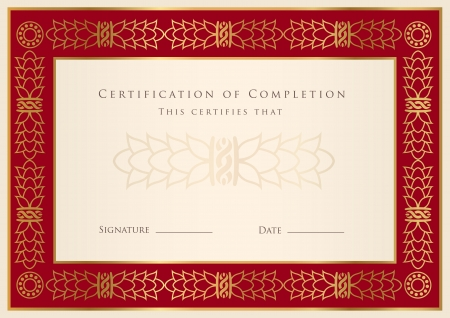 diploma border: Certificate of completion template. Diploma Illustration