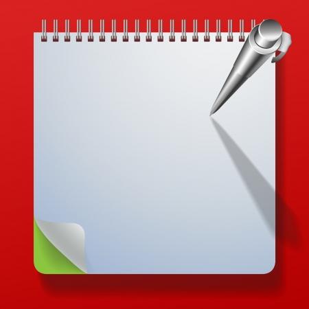 avviso importante: Notebook con una penna. Vector illustration