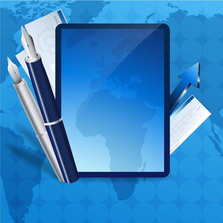Blue business concept. Vector illustration of business elements and place for text Stock Vector - 13842101