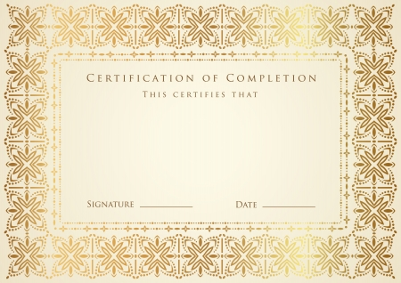 Certificate of completion template. Vector Vector