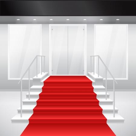 store window: Toegang tot winkelen met trap en rode loper. van toegang tot gebouw. Buitenkant van winkel in grijze kleur