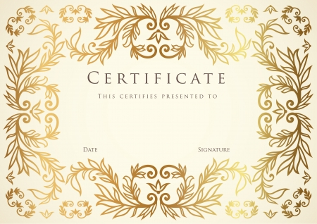 diploma border: Certificate of completion template.  Illustration