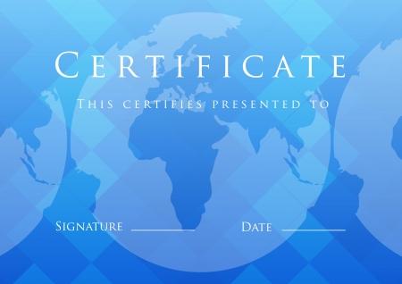 formal blue: Certificate of completion template.  Illustration