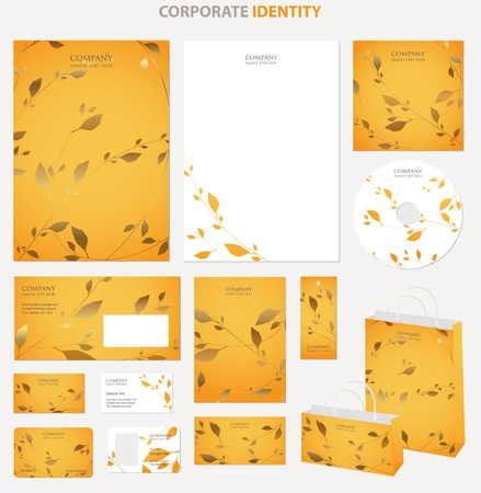 cd label: Business style templates with leafs