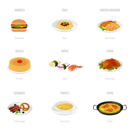 kingdom of spain: Traditional cuisine set Food Illustrations on white background