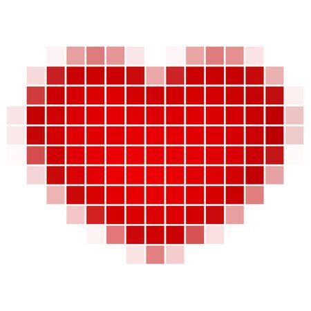 デジタル愛。ピクセルで赤いハート。インターネットを介して出会い系