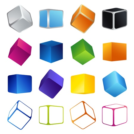 contain: This is vector illustration of Colorful cubes  Vector illustration EPS 8 - does not contain any transparency effects Illustration
