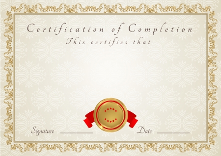 Certificate of completion templat  Diploma Vector
