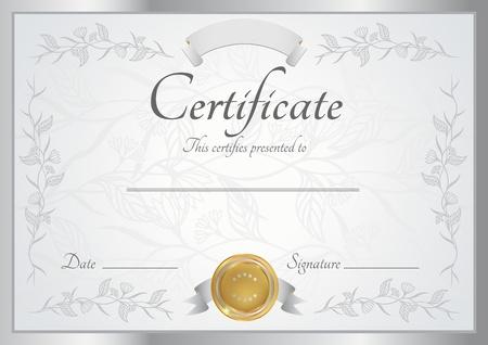 certificado: Certificado de plata de terminaci�n Vector plantilla Vectores