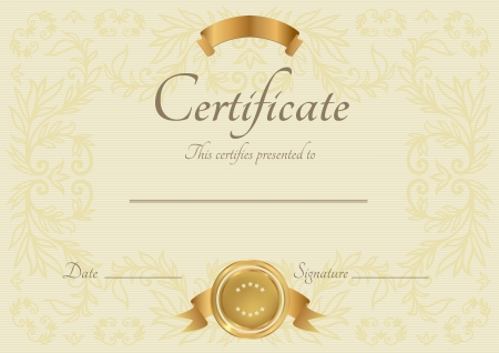certificate background: Certificate of completion template  Vector Illustration