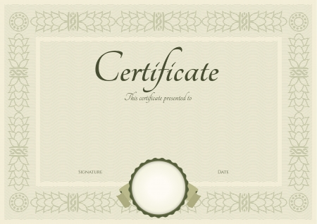 fluted: Certificate of completion template.  Illustration