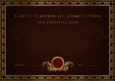 Certificate of completion template  Vector Illustration