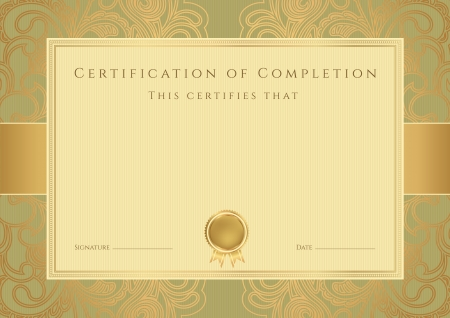 certificate background: Certificate of completion template