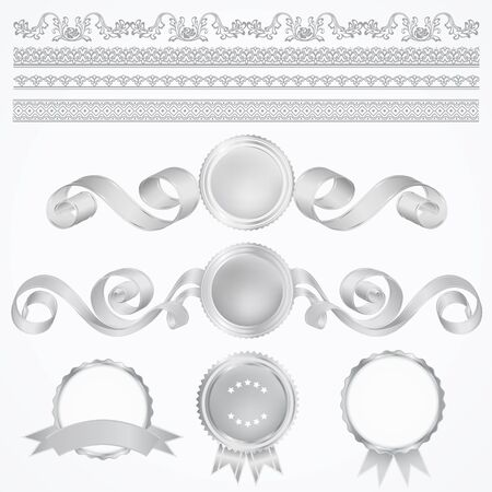 set: Silver Awards. Abstract design elements Vector