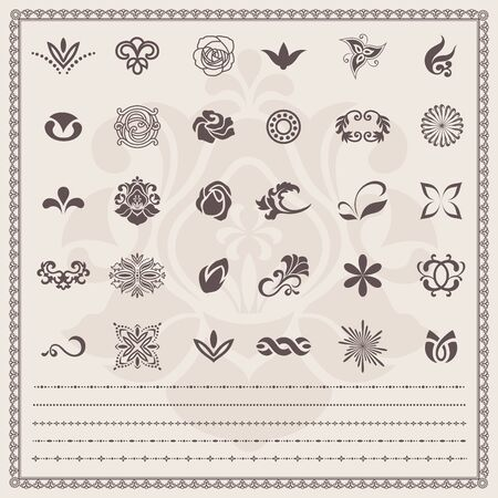 Design elements. Vector set. Floral and ornamental symbols Vector