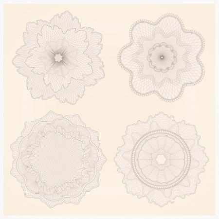 guilloche pattern: set: watermark. Guilloche pattern Illustration