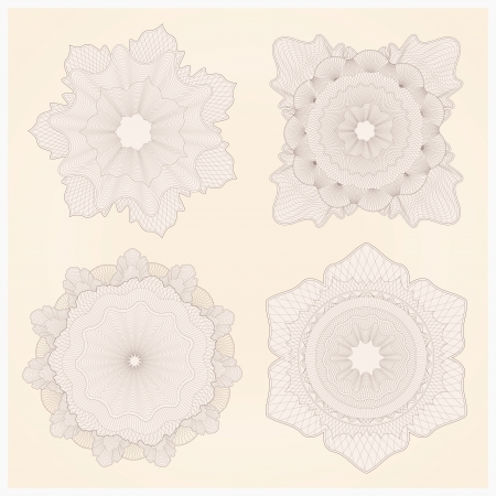 guilloche pattern: Vector set: marca de agua. Guilloche patr�n Vectores