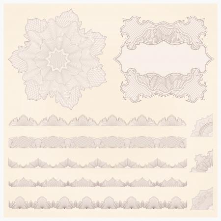 guilloche pattern: set of watermark  Guilloche pattern, borders