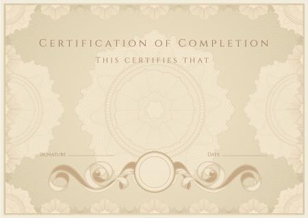 diploma: Certificado  Diploma de finalizaci�n. Guilloche patr�n