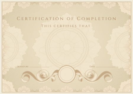Certificate  Diploma of completion. Guilloche pattern Vector