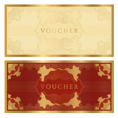 Voucher  coupon. Guilloche pattern Vector