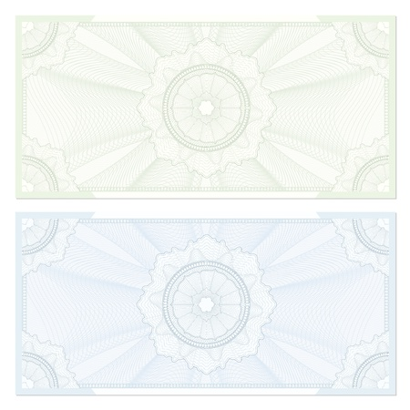 formal blue: Voucher  coupon. Guilloche pattern