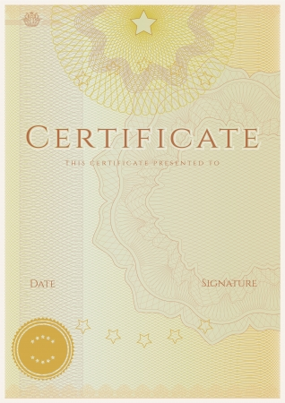 Certificate   Diploma of completion  Guilloche pattern Stock Vector - 17266206