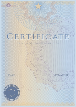 Certificate   Diploma of completion  Guilloche pattern