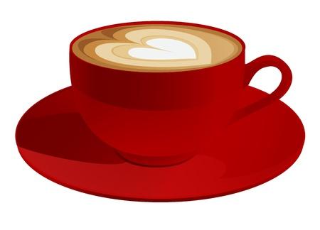 tasse caf�: Red tasse de cappuccino avec le symbole de coeur Vecteur caf� illustration sur fond blanc