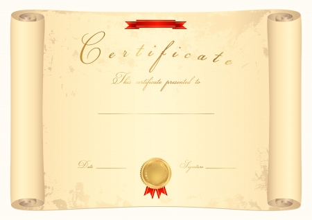 Scroll certificate. Old map. Vector illustration Stock Vector - 17266211