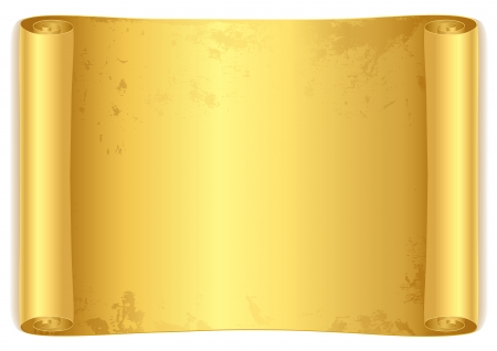 Golden scroll. Isolated vector illustration on white background