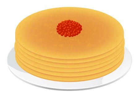 caviar: Cr�pes avec le caviar rouge vecteur illustration isol� sur fond blanc