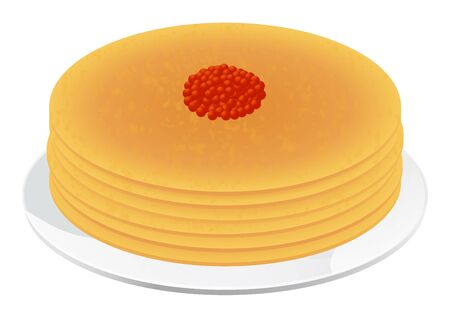 russian cuisine: Pancakes with red caviar  Isolated vector illustration on white background