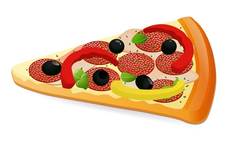 Pizza slice  Cheese pizza slice   Pepperoni pizza slice  Isolated vector illustration on white background Stock Vector - 17371502