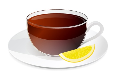 tonic: Cup of black tea with slice of lemon on a plate  Isolated on white background Illustration