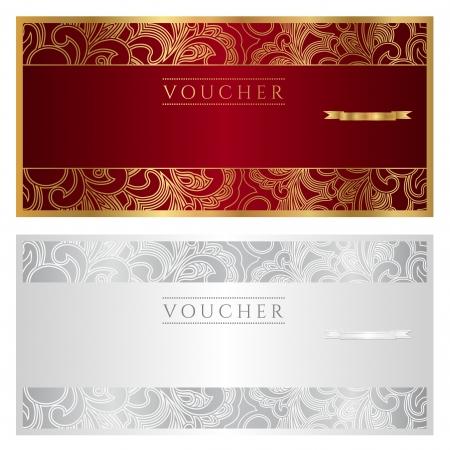 Kupon dar Voucher Kwiatowy wzór Ilustracja Wektor
