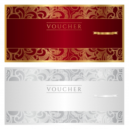 coupon template: Voucher   coupon   gift  Floral pattern  Vector Illustration Illustration