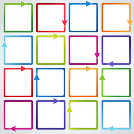 text boxes: Conceptual vector of isolated colorful arrows  cubes form  and place for text  Useful for banner design, business concept or web ad  Creative background  Illustration on white background Illustration