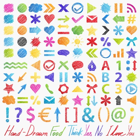 Set  hand-drawn symbols  icons   Isolated colorful design elements in different shapes  Useful for web ad and websites  illustration on white background Vector