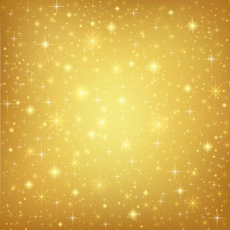 Résumé fond doré avec des étoiles scintillantes d'or mousseux cosmiques EPS atmosphère Vector illustration 10