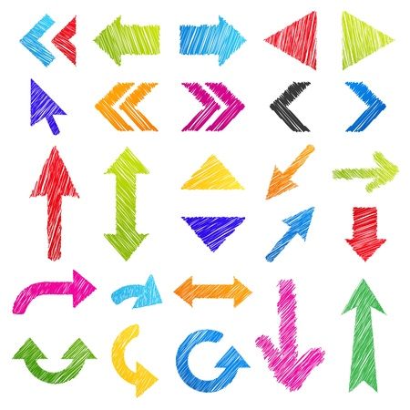 Set: hand-drawn arrows (icons). Isolated colorful design elements in different shapes. Useful for web ad and websites. Vector illustration on white background Stock Vector - 17491546