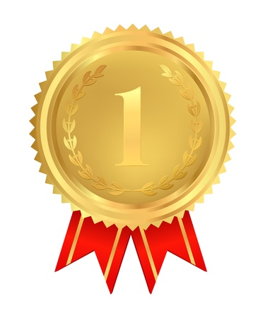 champ: Golden medal of First place. Usable for certificate, diploma or different awards.Isolated Golden insignia with red ribbons (sign of winner). Vector illustration on white background