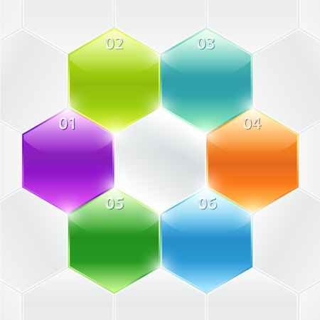 polyhedron: Conceptual colorful polyhedrons with info and numbers  Useful for banner design, business concept, website or web ad  Creative Illustration with numbers, arrows and place for text Illustration