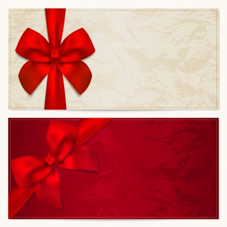 COUPON: Voucher template with floral pattern, border and Gift red bow  ribbons   This background design usable for gift voucher, coupon, invitation, certificate, diploma, ticket etc Illustration in golden and white colors Illustration