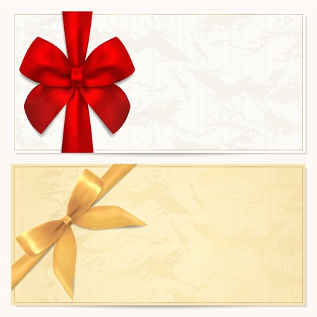 COUPON:  Voucher template with floral pattern, border and Gift red and gold bow  ribbons   This background design usable for gift voucher, coupon, invitation, certificate, diploma, ticket etc Illustration in golden and white colors Illustration